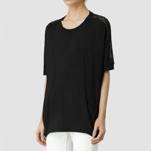 All Saints Wave Blaze Top Blouse Black Size Small